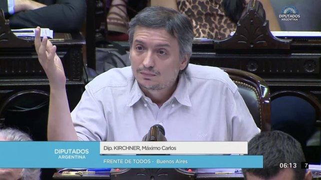 El diputado Máximo Kirchner criticó la gestión de Macri y fue aplaudido