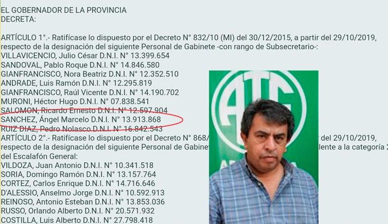 Datos oficiales confirman que Marcelo Sánchez  de ATE tiene dos cargos simultáneos en el Estado y cobra $ 216.000. – por mes