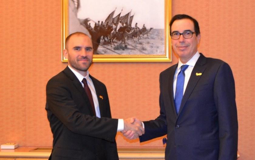"""El ministro de Economia Guzmán con el secretario del Tesoro de Trump: """"Es alentador encontrar coincidencias"""""""
