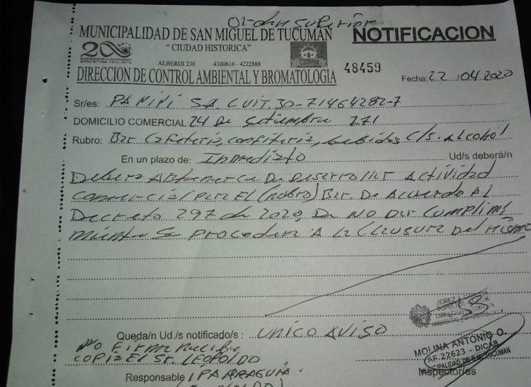 TUCUMAN: Clausura y notificación al bar Havanna por violar la cuarentena