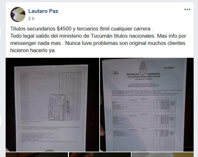 ESTAFA EN LAS REDES: Ofrecen títulos secundarios a $ 4500 y terciarios a $ 8000