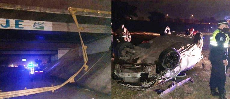 TUCUMAN:Delincuentes hicieron caer un auto al vacío en el puente de San Cayetano, falleció un matrimonio y su hijito está grave