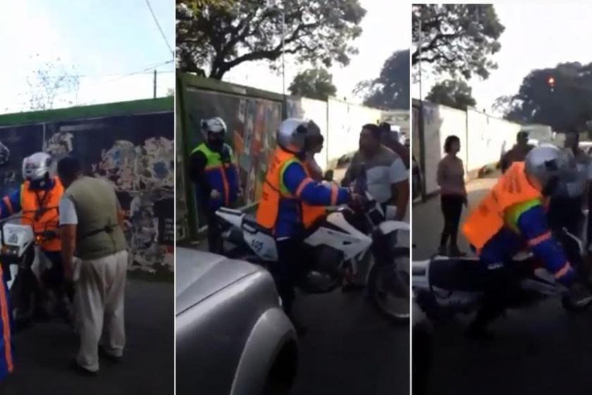 """(VIDEO) """"Fue noqueado un agente de tránsito que le hacía una multa al hijo del violento agresor"""" (VIDEO)"""