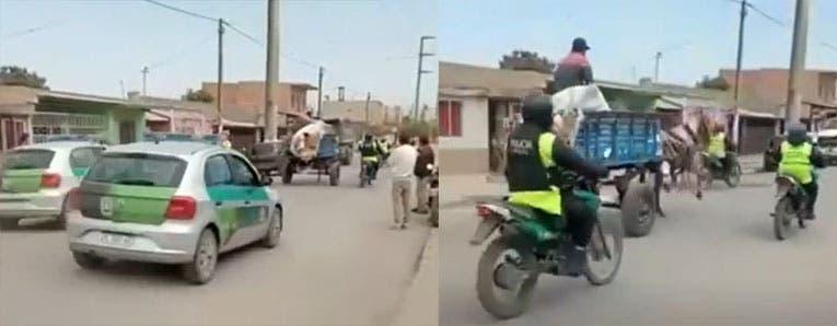 """TUCUMAN : Patrulleros y motos a toda velocidad persiguen a un """" CARRO TIRADO POR UN CABALLO AL GALOPE """""""