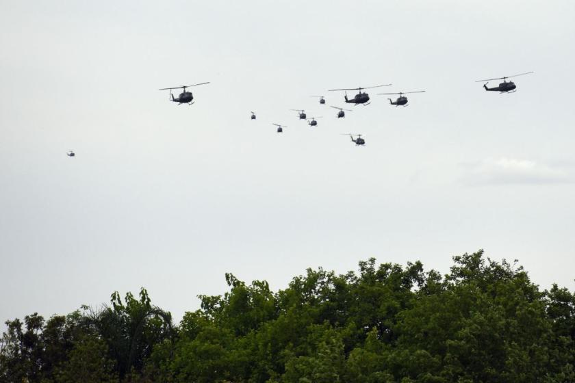 14 helicópteros del Ejército Argentino sobrevolaron Yerba Buena (VIDEO)