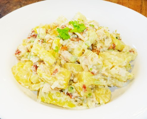 aardappelsalade met gerookte forel