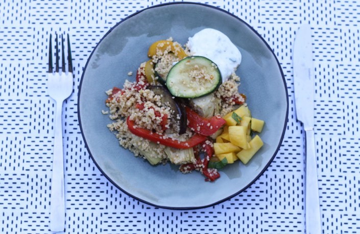 couscous met mangosalade en tzatziki