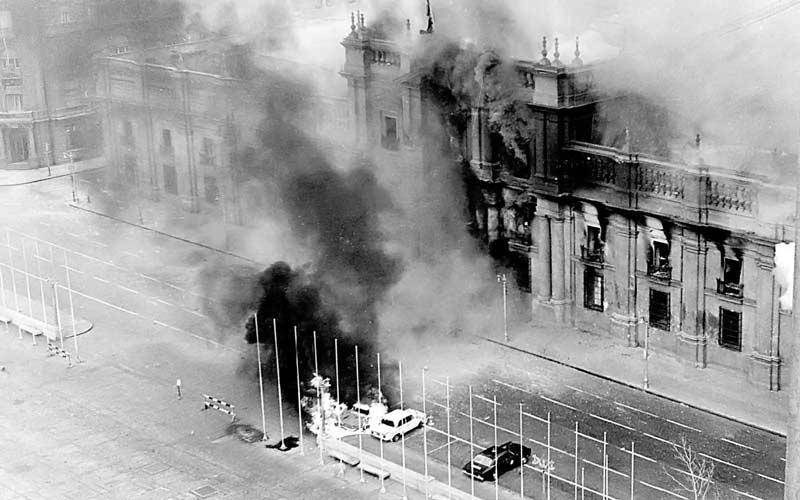 Bombardeo de La Moneda en el Golpe Militar de 1973.