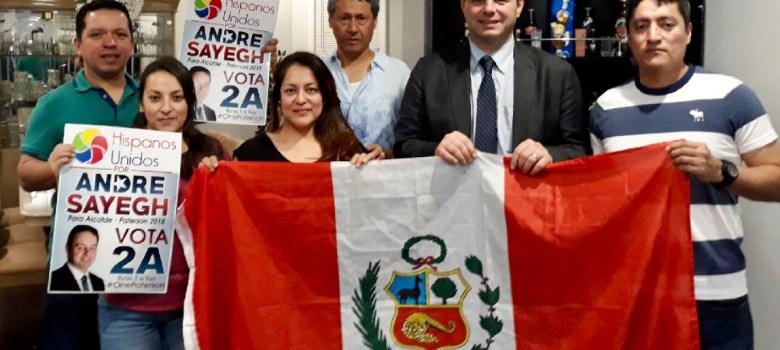 Organización peruana se forma para apoyar Andre Sayegh para alcalde Paterson