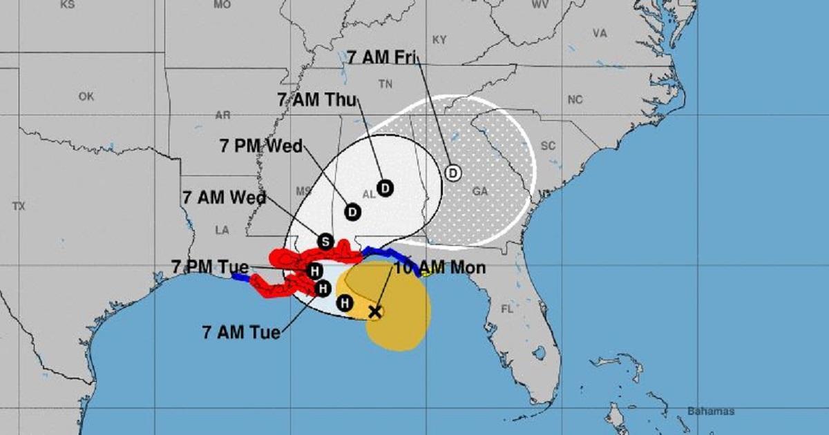 Sally tocaría tierra como huracán categoría 1 en la costa de Louisiana y Mississippi el martes. Foto cortesía