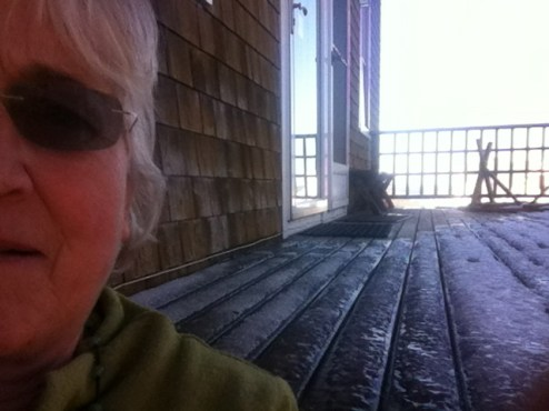 Out on the icy deck, taking pictures of shapes