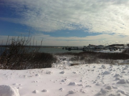 View across Old Harbor - there is a boat coming today
