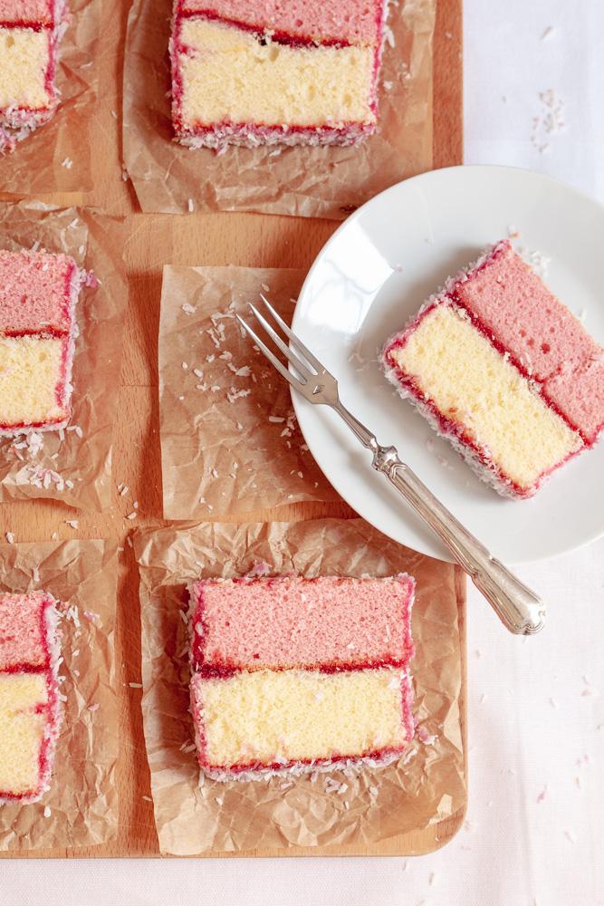 Coconut dusted raspberry jam & sponge cake