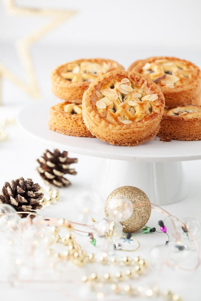 Almond mince tarts on a cake stand