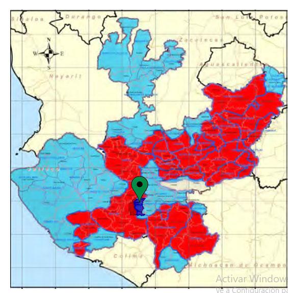 """Disponibilidad de agua en el estado: en azul """"con disponibilidad""""; en rojo """"sin disponibilidad"""" (Basado en el programa hídrico del estado. Fuente CONAGUA)"""