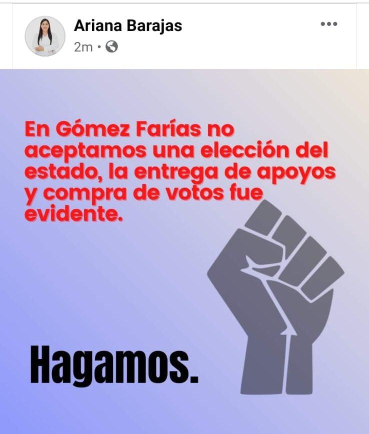 En Gómez Farías MC festeja y Hagamos acusa elección de estado