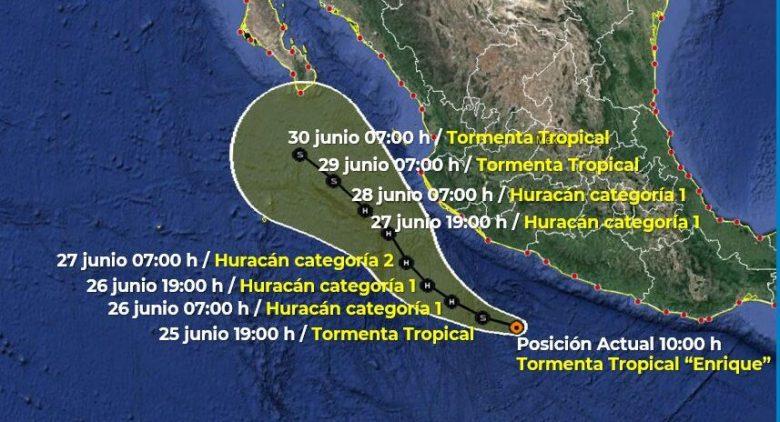 Se forma tormenta tropical Enrique en el Pacífico, llegará a Jalisco como Huracán categoría II