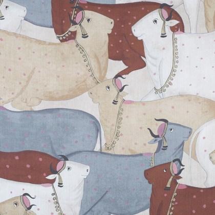 Tela Lino Vacas Terracota 056nan01