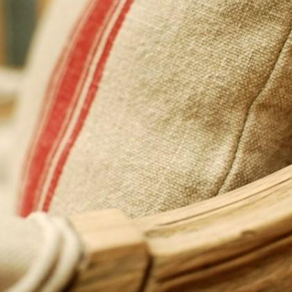 Cojín de lino, tela de rayas vintage