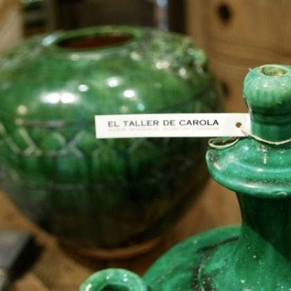 Cerámica verde botella, decoración El Taller de Carola