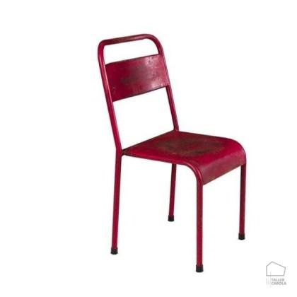 "068 Silla estilo industrial Roja ""apilable"""