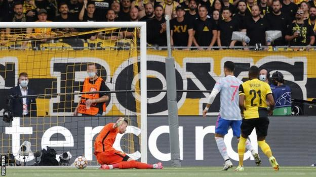 Cristiano Ronaldo scores for Manchester United against Young Boys in the Champions League