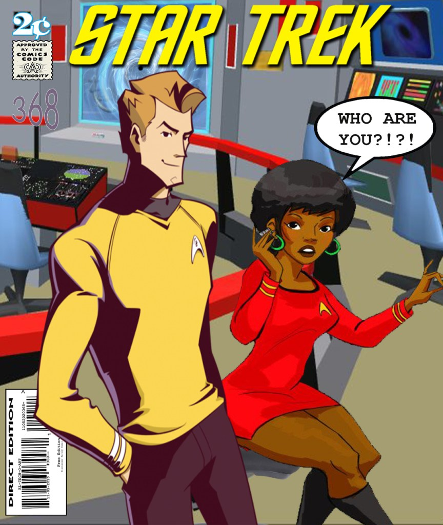 Fan Photoshop Edit Comic Cover Of New Kirk and Old Uhura
