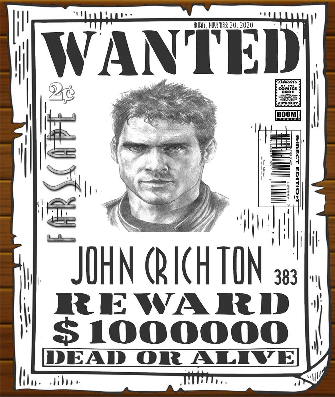 Fan Photoshop Edit Comic Cover of Farscape John Wanted Poster