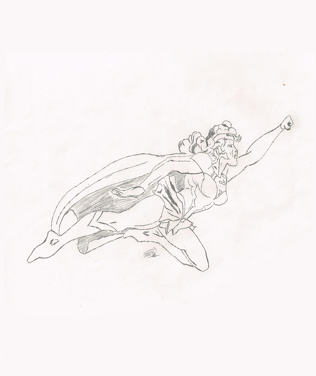 Vintage Supergirl Sketch