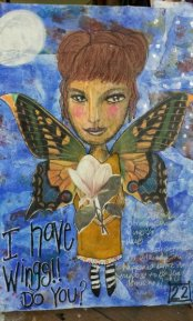 Stepping out of my comfort zone and using a magazine image for the face. The wings were part of a free image set.