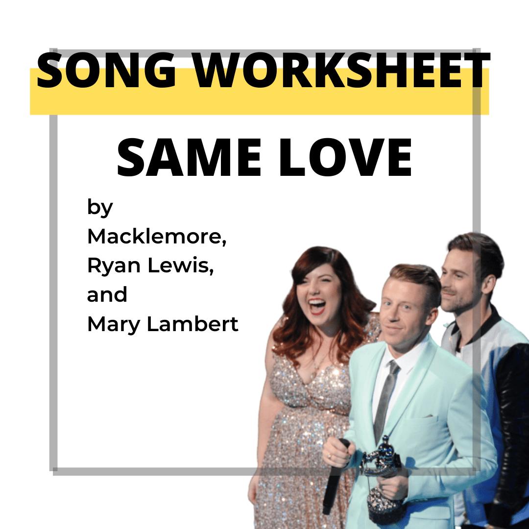 Song Worksheet Same Love Elt For Beginners