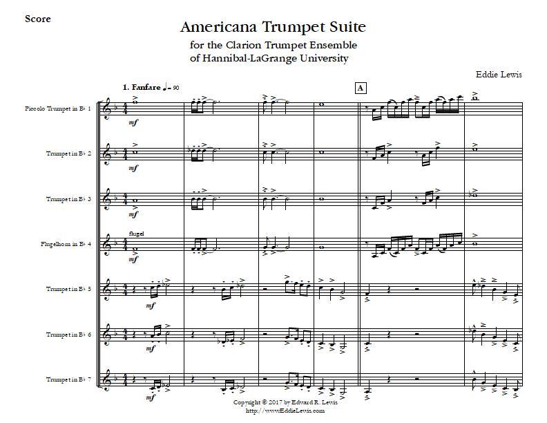 Americana Trumpet Suite Trumpet Septet Sheet Music PDF Sample Score