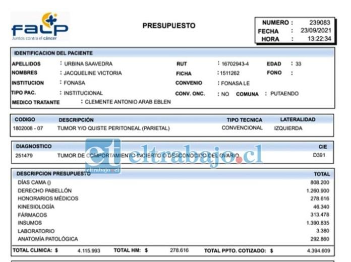 Este es el presupuesto entregado por la Fundación Arturo López Pérez (FALP).