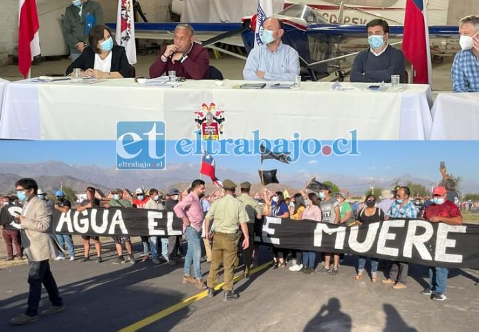 Mientras el ministro Moreno se reunía con los ediles y el gobernador regional en el Club Aéreo, afuera un centenar de manifestantes expresaban el rechazo al decreto de intervención del Río Aconcagua.