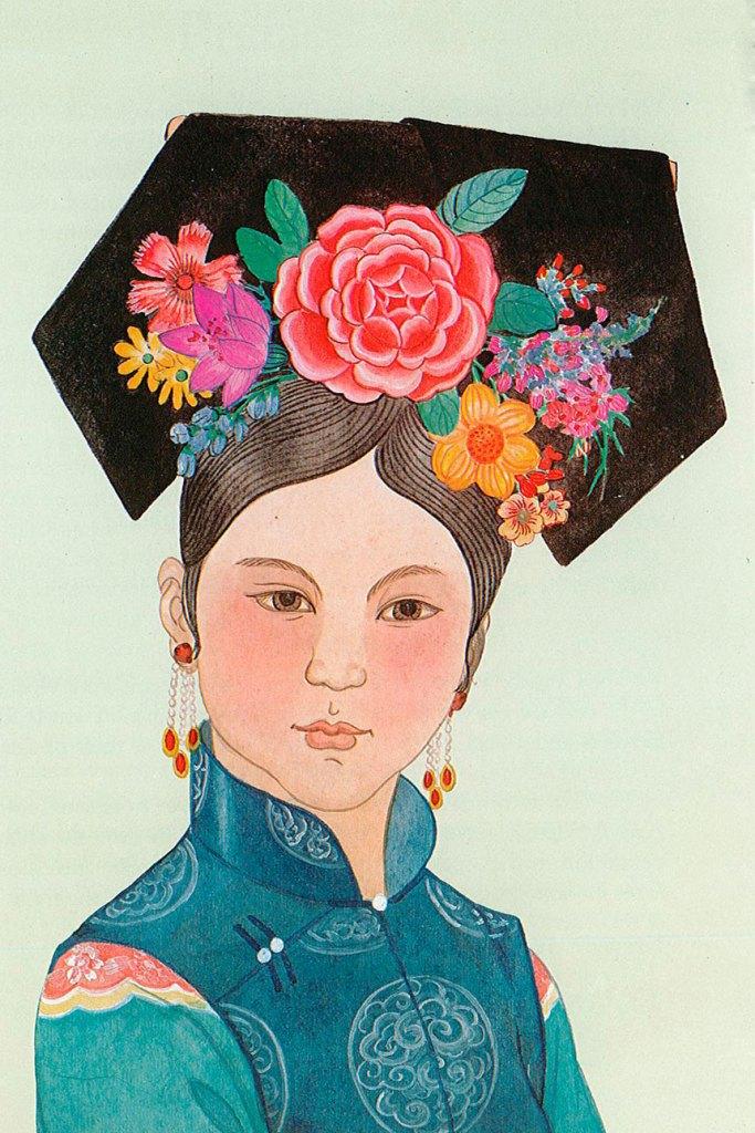 Dibujo de peinado femenino etnia manchú