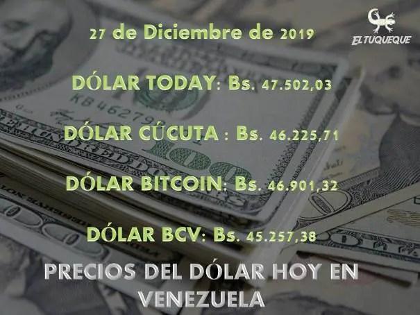 Precio del dólar hoy 27/12/2019 en Venezuela
