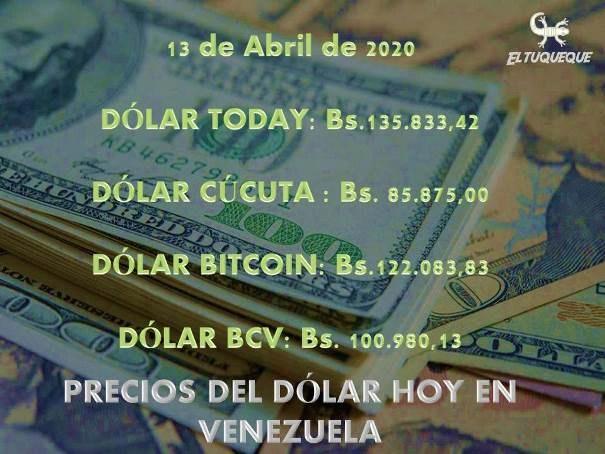 precio del dólar hoy 13/04/2020 en Venezuela