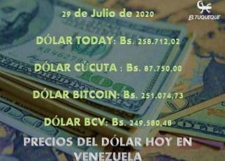 precio del dólar hoy 29/07/2020 en Venezuela
