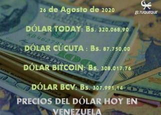 precio del dólar hoy 26/08/2020 en Venezuela