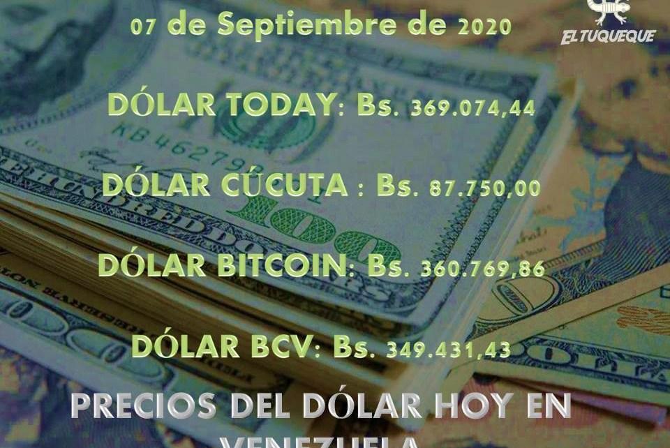 Precio del dólar hoy 07/09/2020 en Venezuela