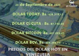 precio del dólar hoy 25/09/2020 en Venezuela