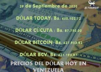 precio del dólar hoy 29/09/2020 en Venezuela