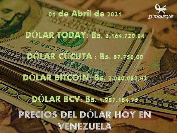 Precio del dólar hoy 01/04/2021 en Venezuela