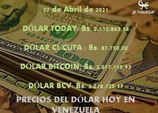 precio del dólar hoy 07/04/2021 en Venezuela