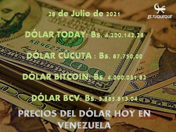 precio del dólar hoy 28/07/2021 en Venezuela