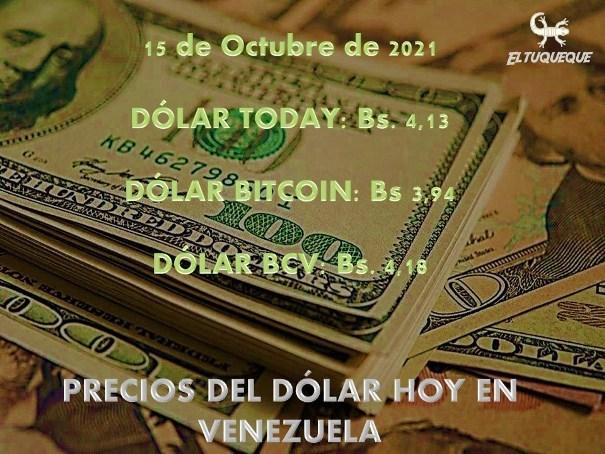 Precio del dólar hoy 15/10/2021 en Venezuela