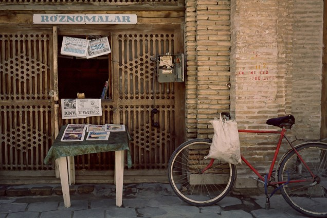 BUKHARA, UZBEKISTAN - APRIL, 2004:    Newpaper stand in Bukhara.(Photo by Christopher Herwig)