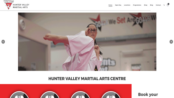 Hunter Valley Martials Arts example website image