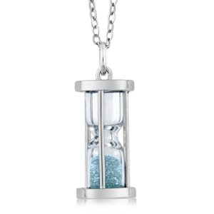 Aquamarine Dust Sterling Silver Hourglass Pendant from Gem Stone King