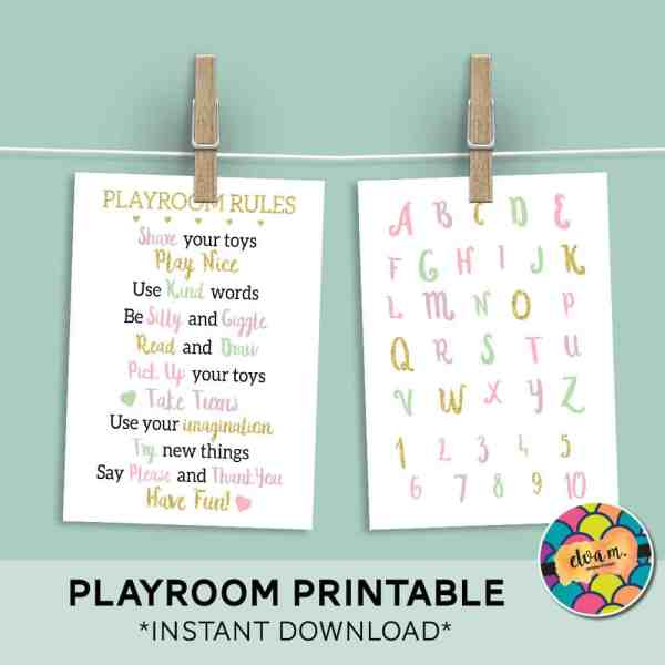 Playroom Rules and Alphabet Printable